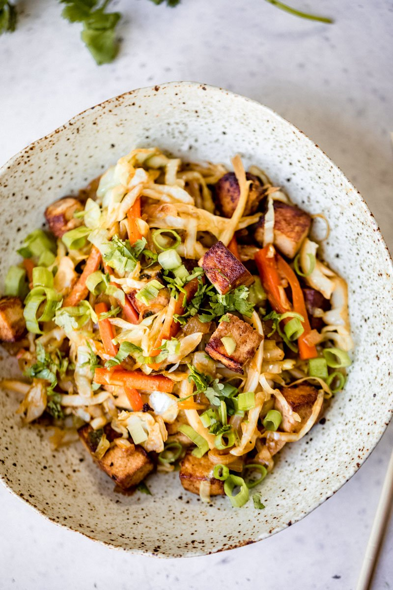 healthy vegan egg roll in a bowl with tofu