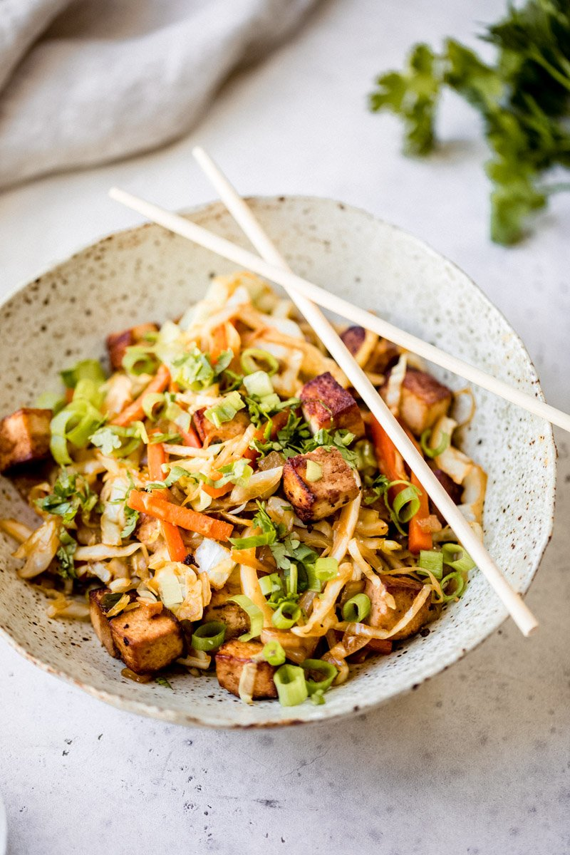 easy vegan egg roll in a bowl with chopsticks