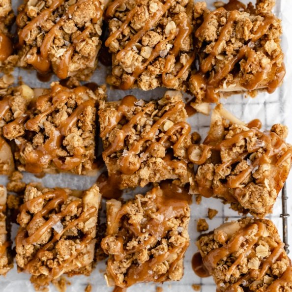 healthy apple pie bars on parchment paper
