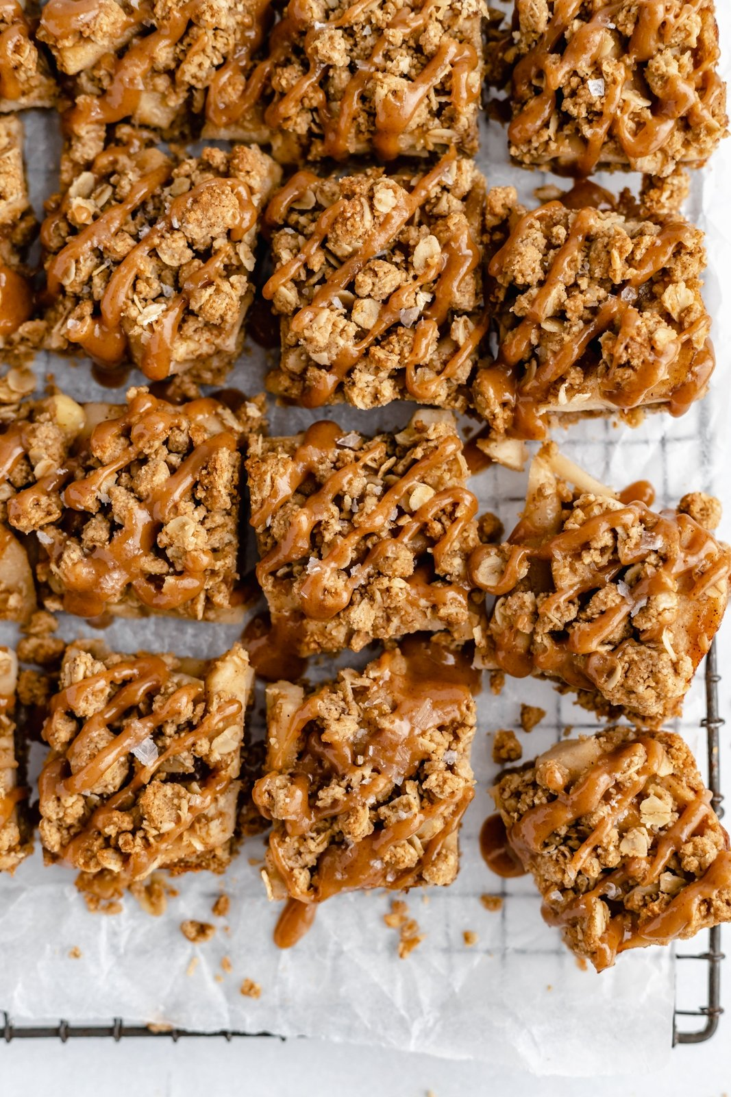 healthy apple pie bars on a wire rack