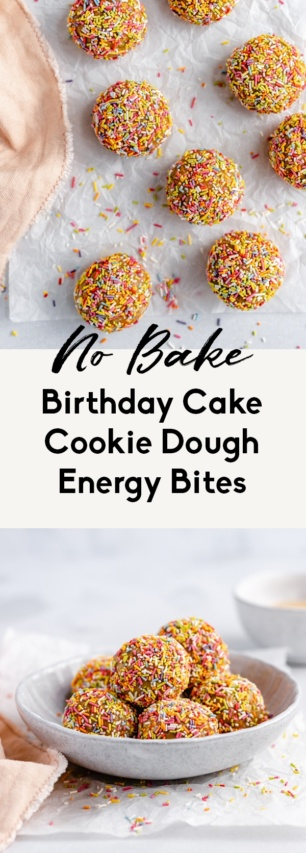 collage of no bake birthday cake energy bites
