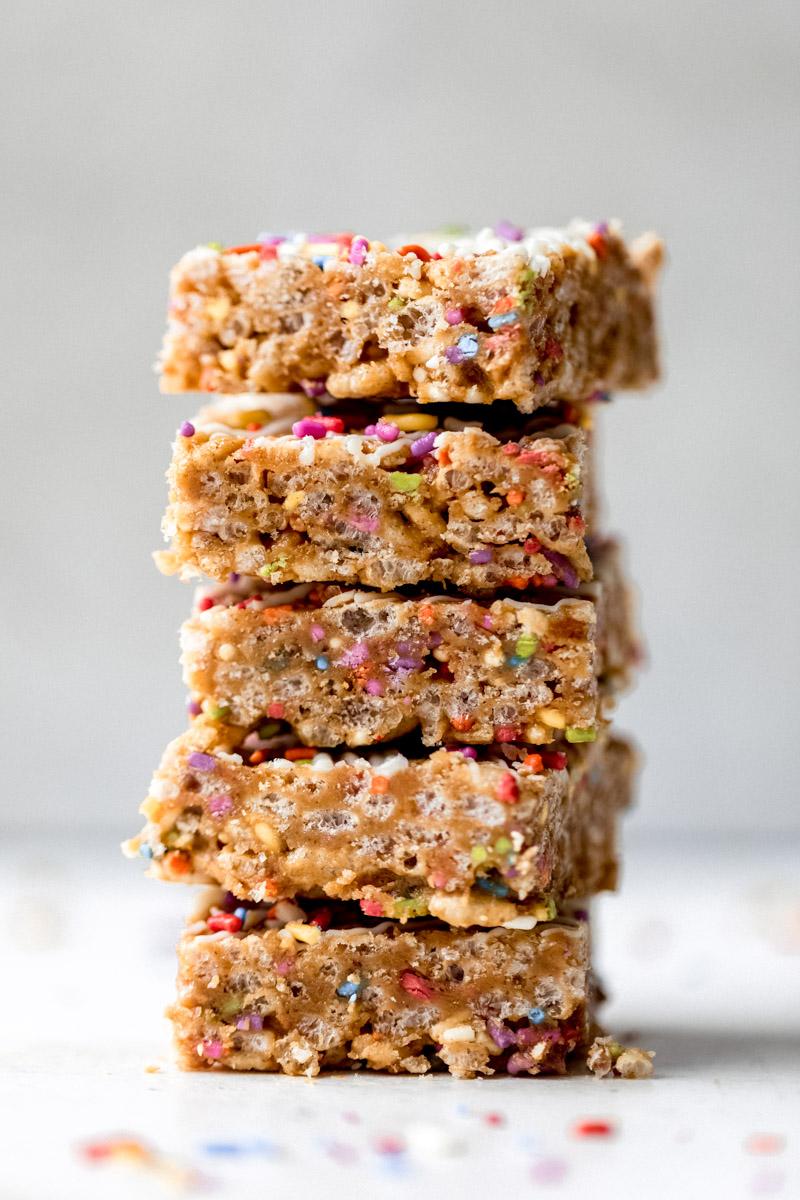 gluten free birthday cake rice krispie treats in a stack