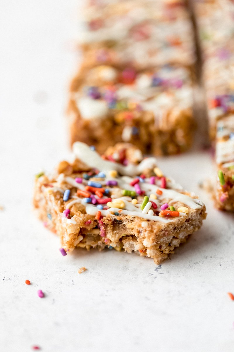 no bake birthday cake rice krispie treat with a bite taken out