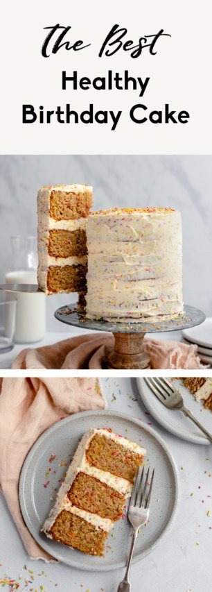 collage of healthy birthday cake