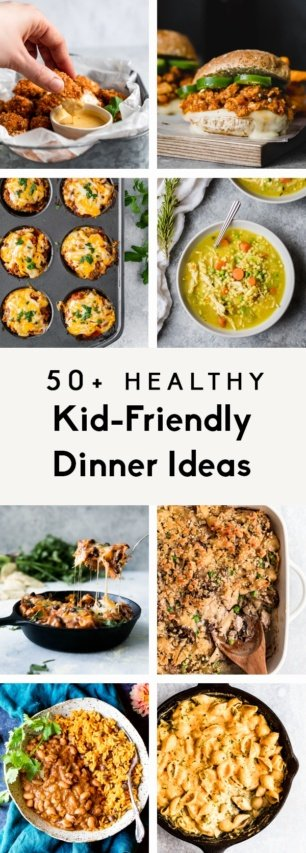 collage of kid-friendly dinner ideas