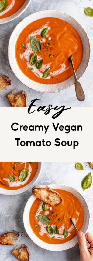 collage of vegan tomato soup