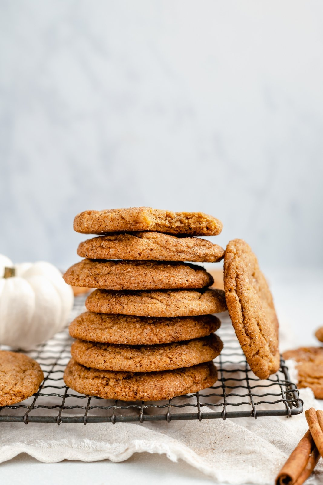 pumpkin snickerdoodles in a stack