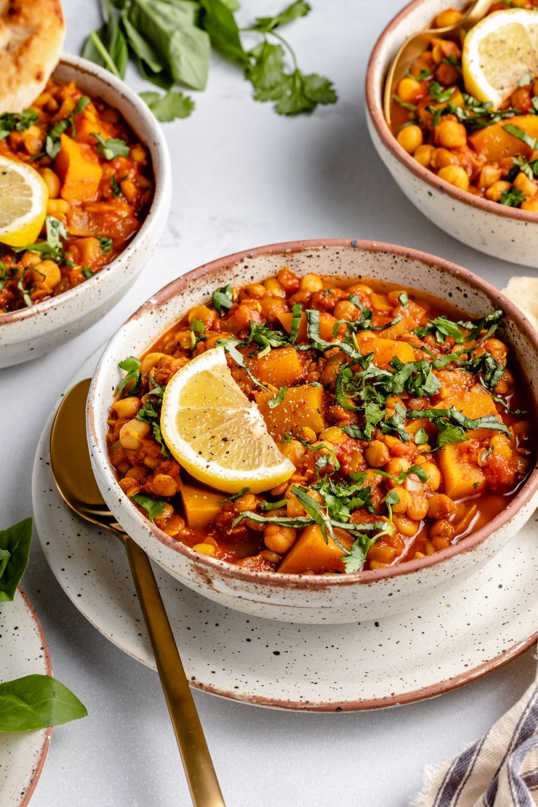Moroccan stew in a bowl with a lemon wedge