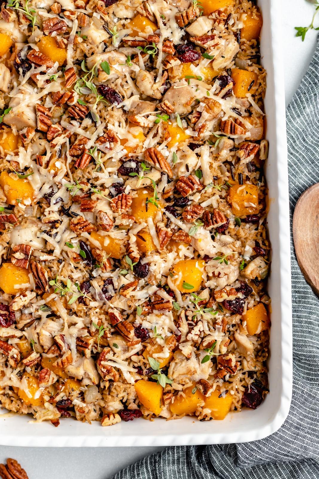 chicken wild rice casserole in a baking dish
