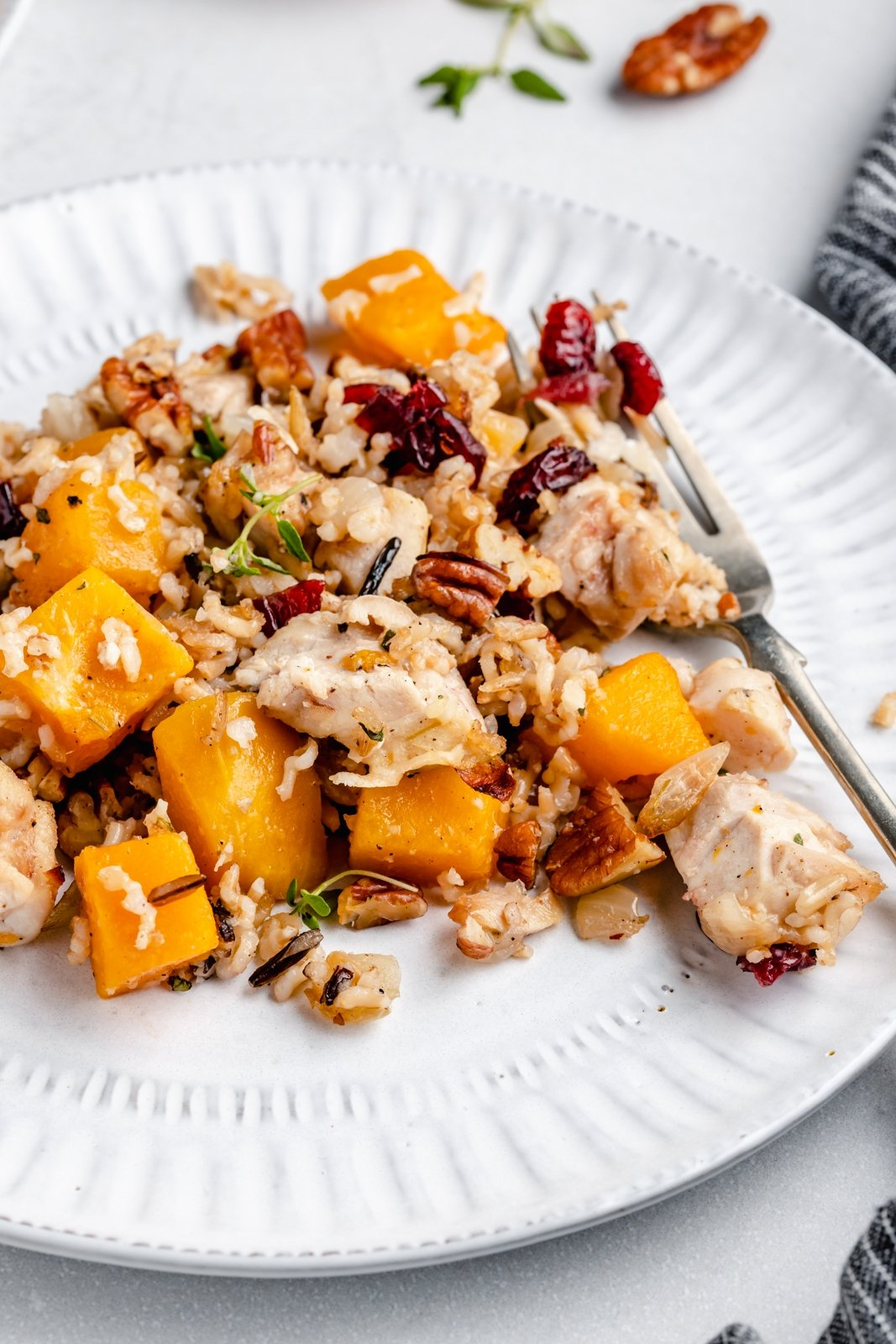 wild rice casserole with butternut squash and chicken on a plate