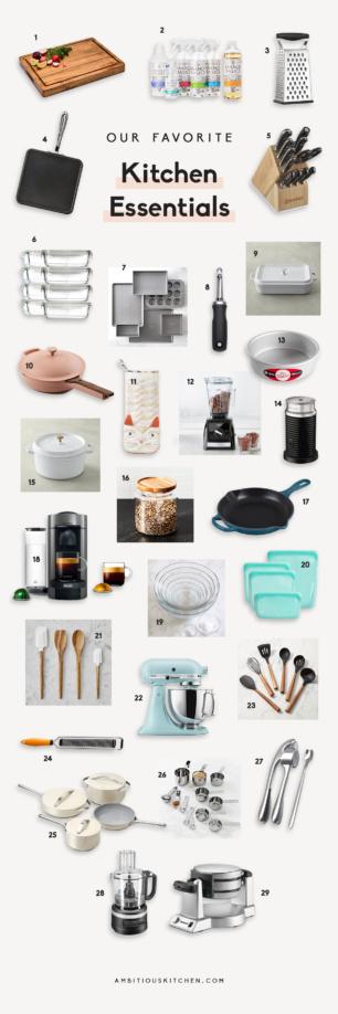 collage of kitchen essentials