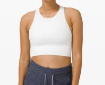white sports bra on a woman's torso