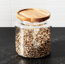 glass jar filled with rice