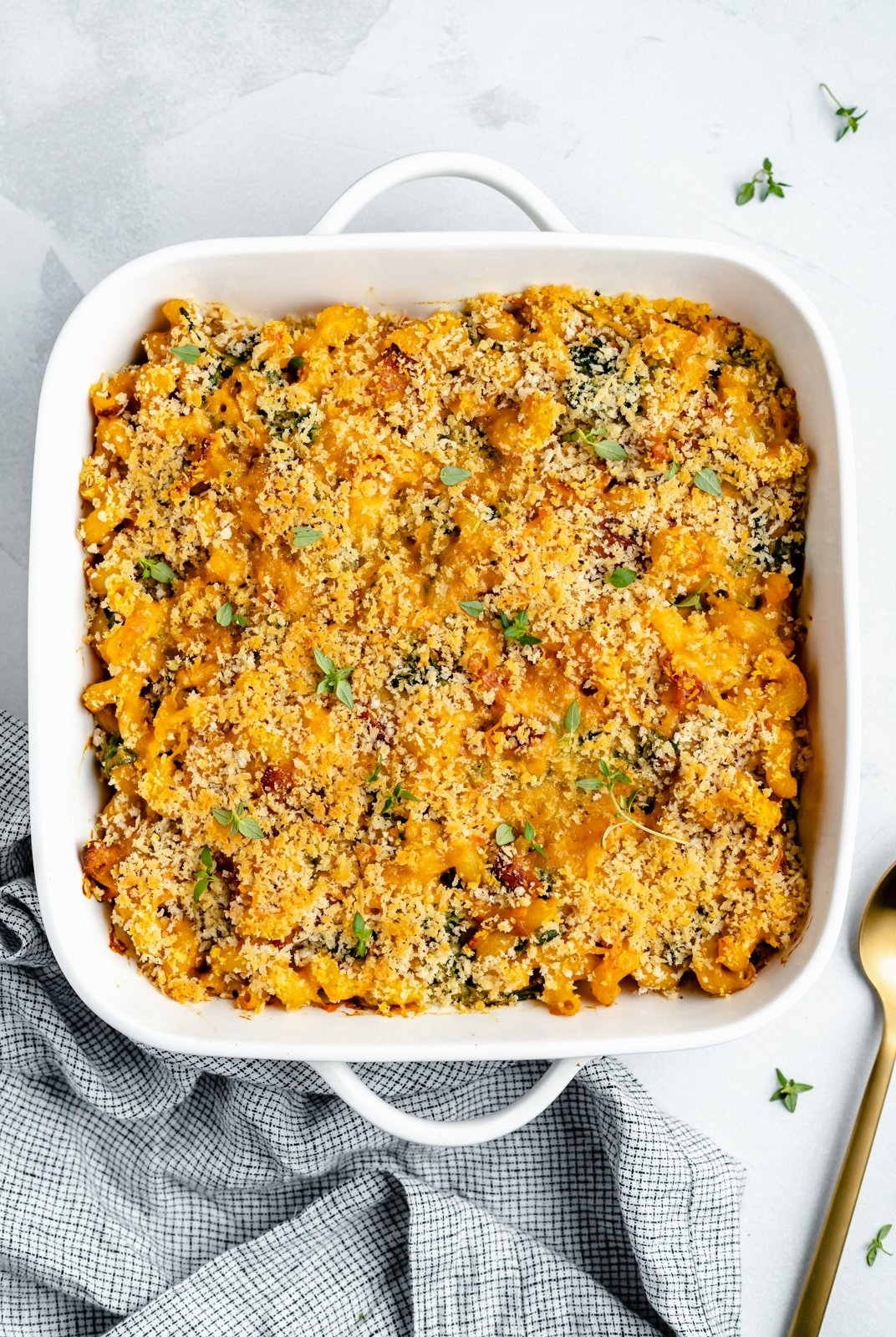 healthy pumpkin mac and cheese in a baking dish