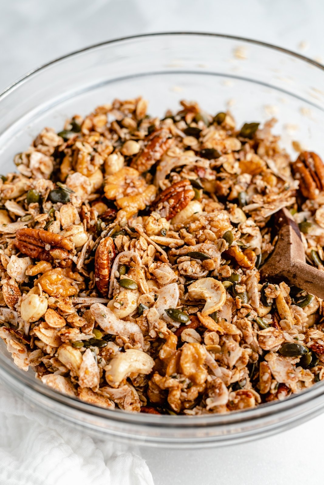 nut and seed granola recipe in a bowl
