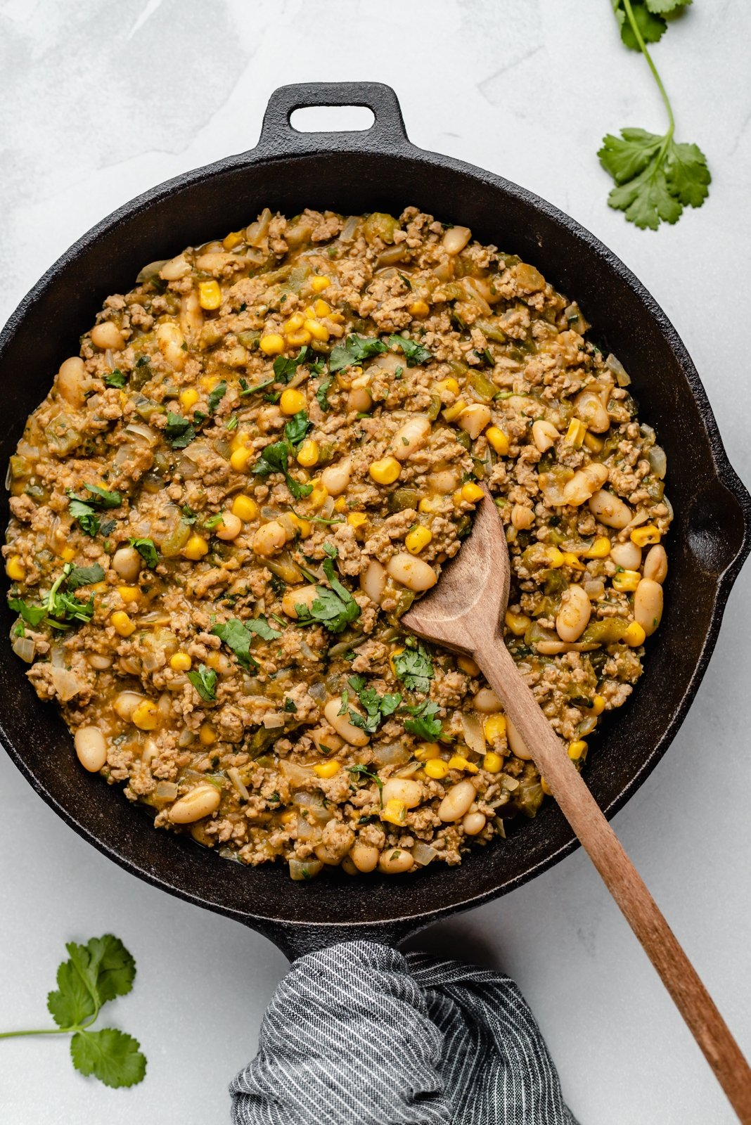 white chicken chili in a skillet