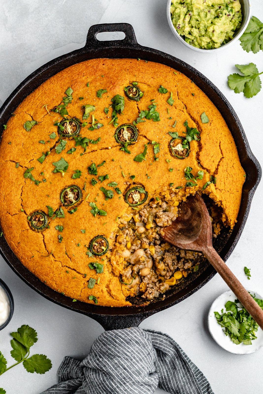 White Chicken Chili Pie With Pumpkin Cornbread Crust Ambitious Kitchen
