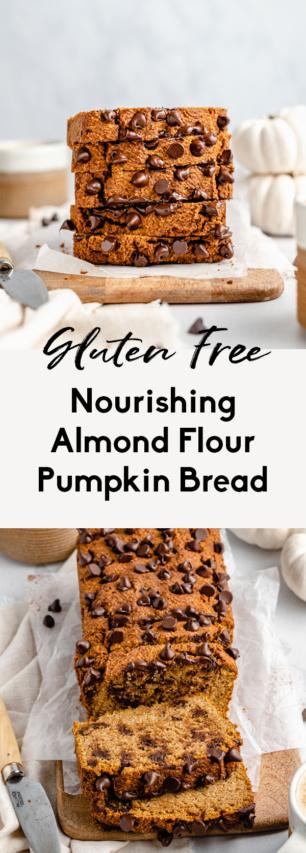 collage of almond flour pumpkin bread