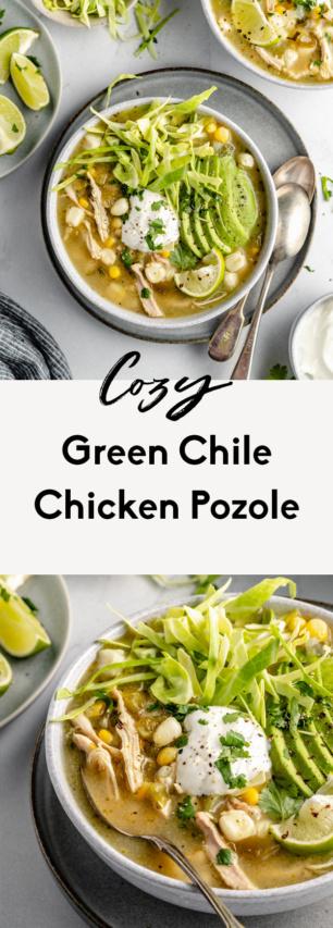 collage of a chicken pozole recipe