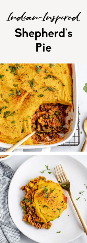 collage of indian-inspired shepherd's pie