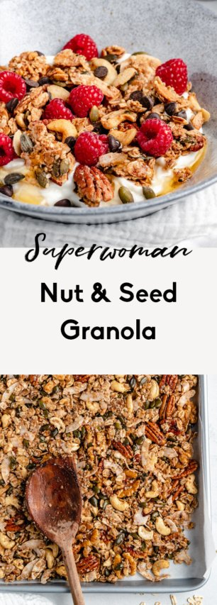 collage of nut and seed granola