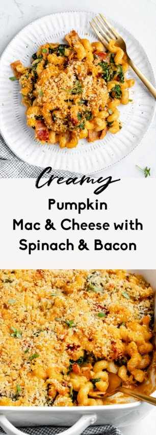 collage of pumpkin mac and cheese
