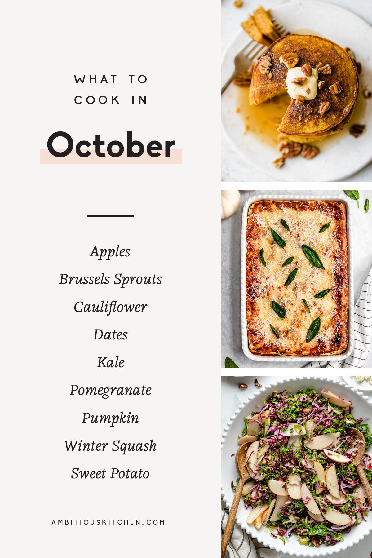 collage of recipes to cook in october with text overlay