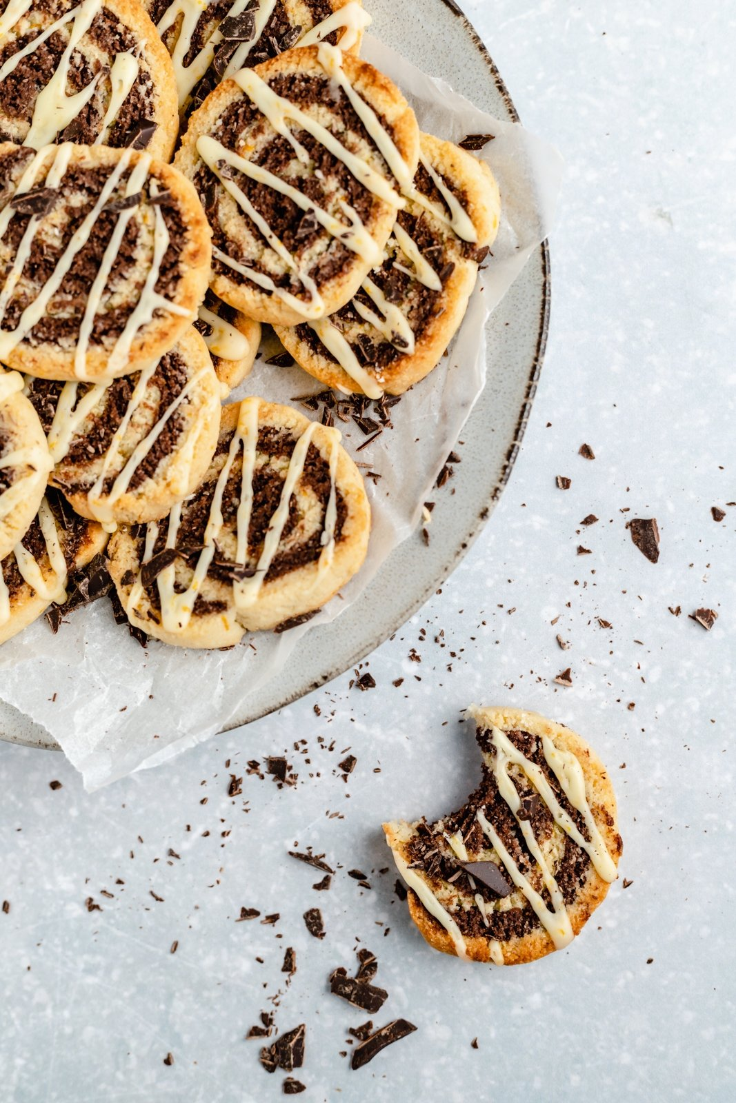 orange chocolate pinwheel cookies on a plate