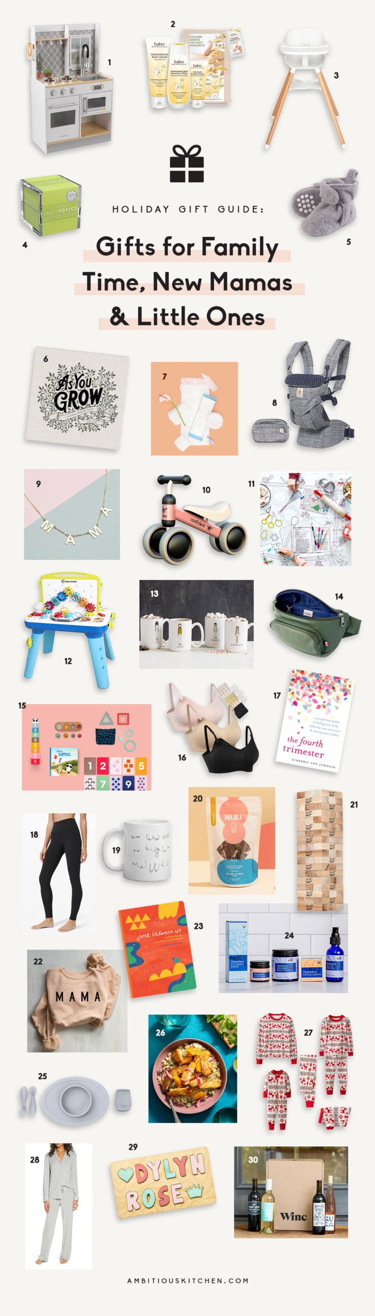 collage of gifts for new moms