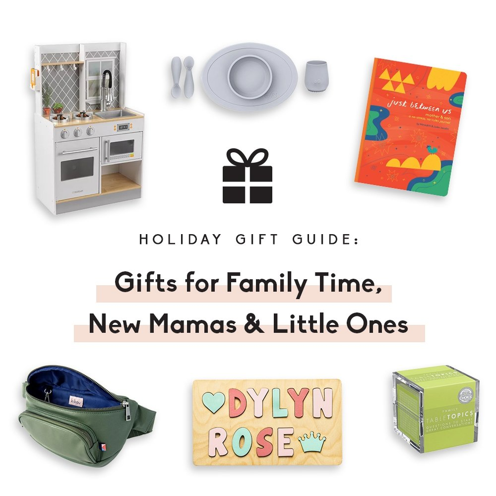 collage of gifts for family time & new moms
