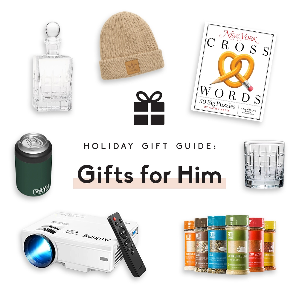 collage of gifts for him