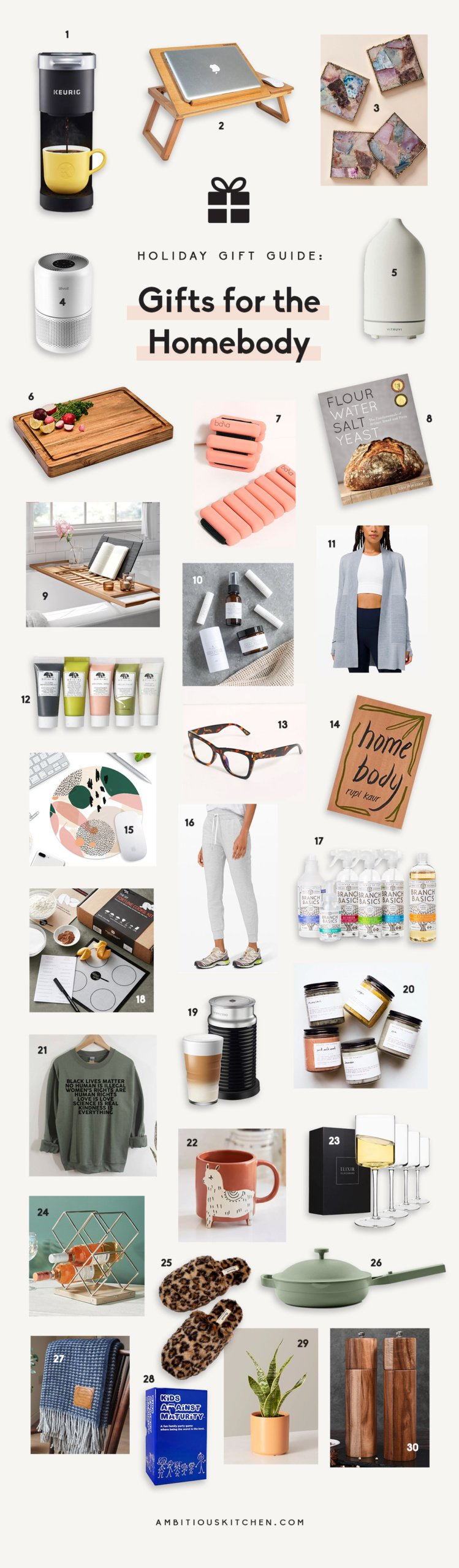 collage of gifts for the homebody