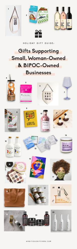 collage of gifts supporting women & BIPOC-owned businesses