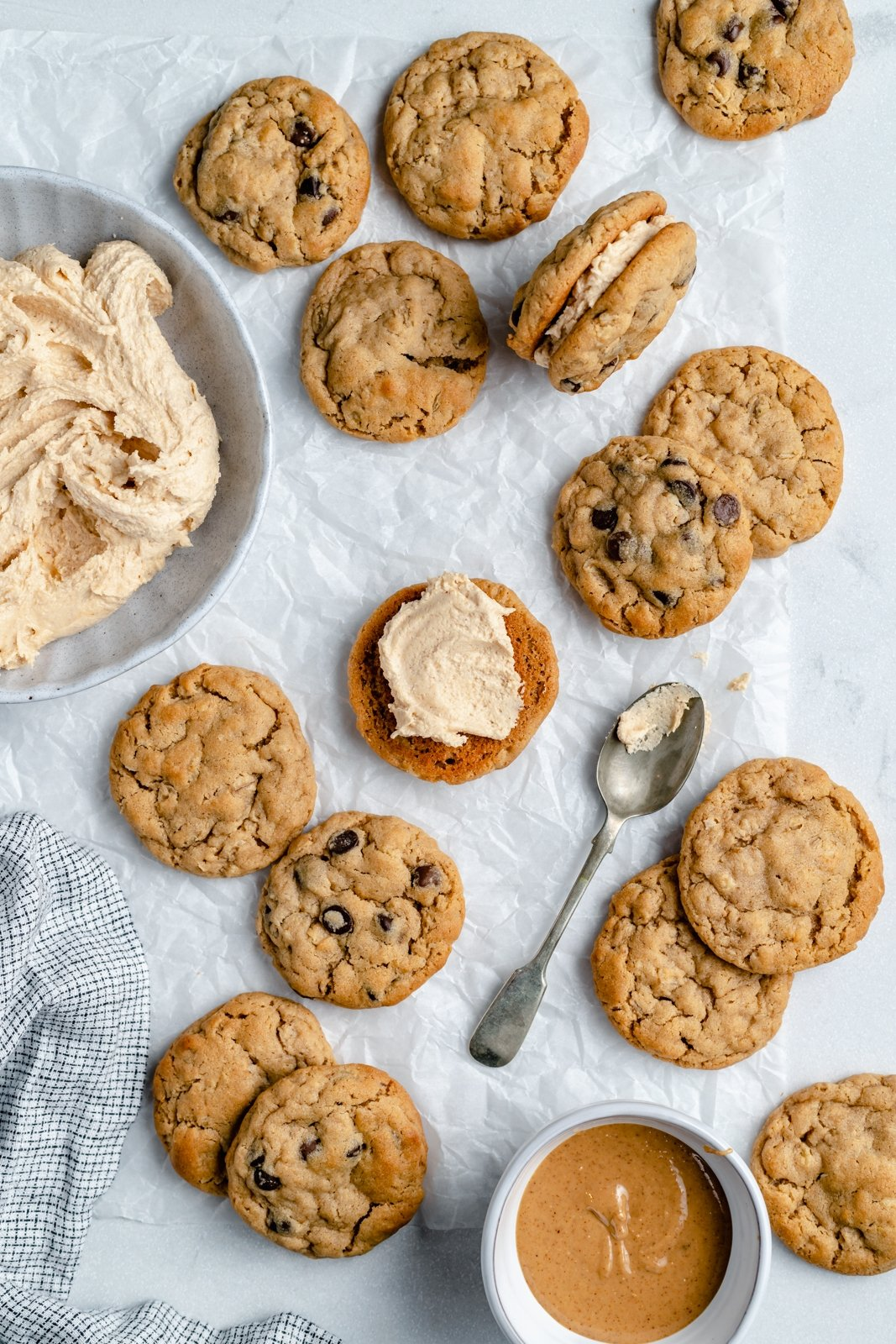 making peanut butter oatmeal cream pies with peanut butter frosting