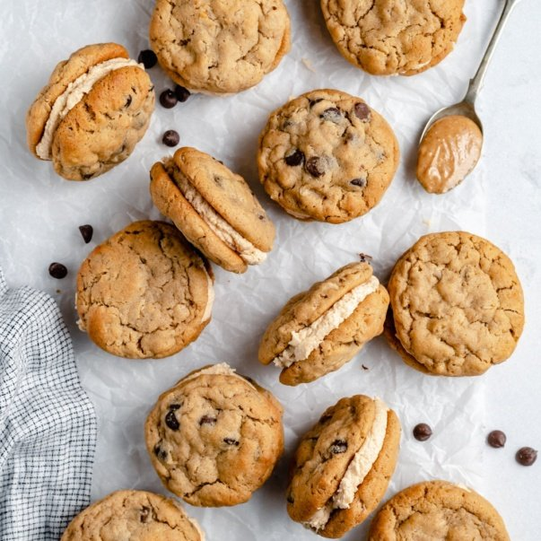 peanut butter oatmeal cream pies on parchment paper