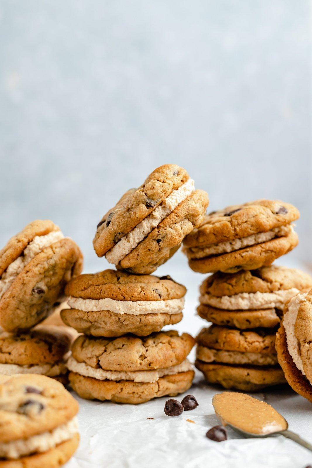 peanut butter sandwich cookies in stacks