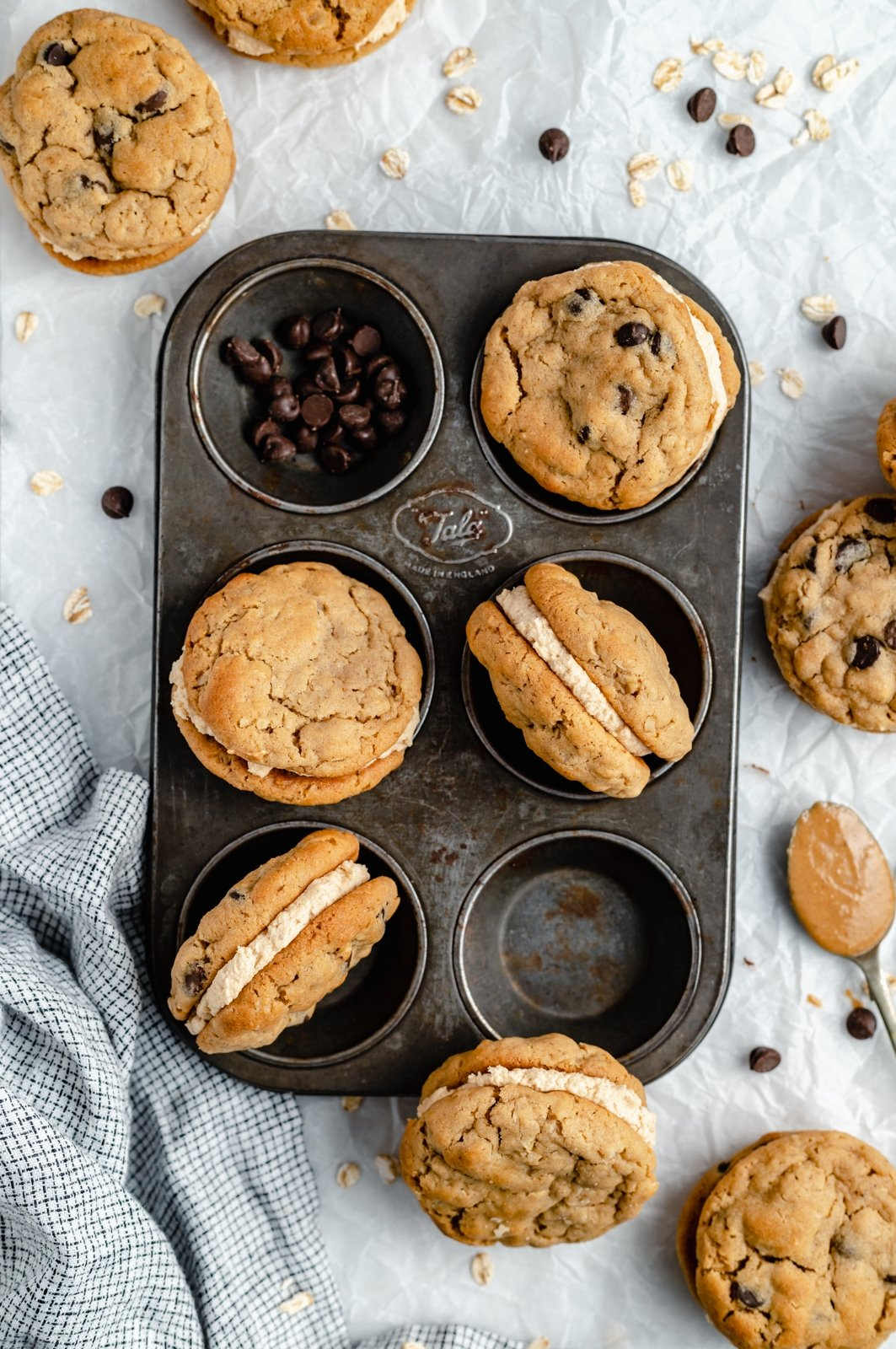peanut butter sandwich cookies with chocolate chips in a pan