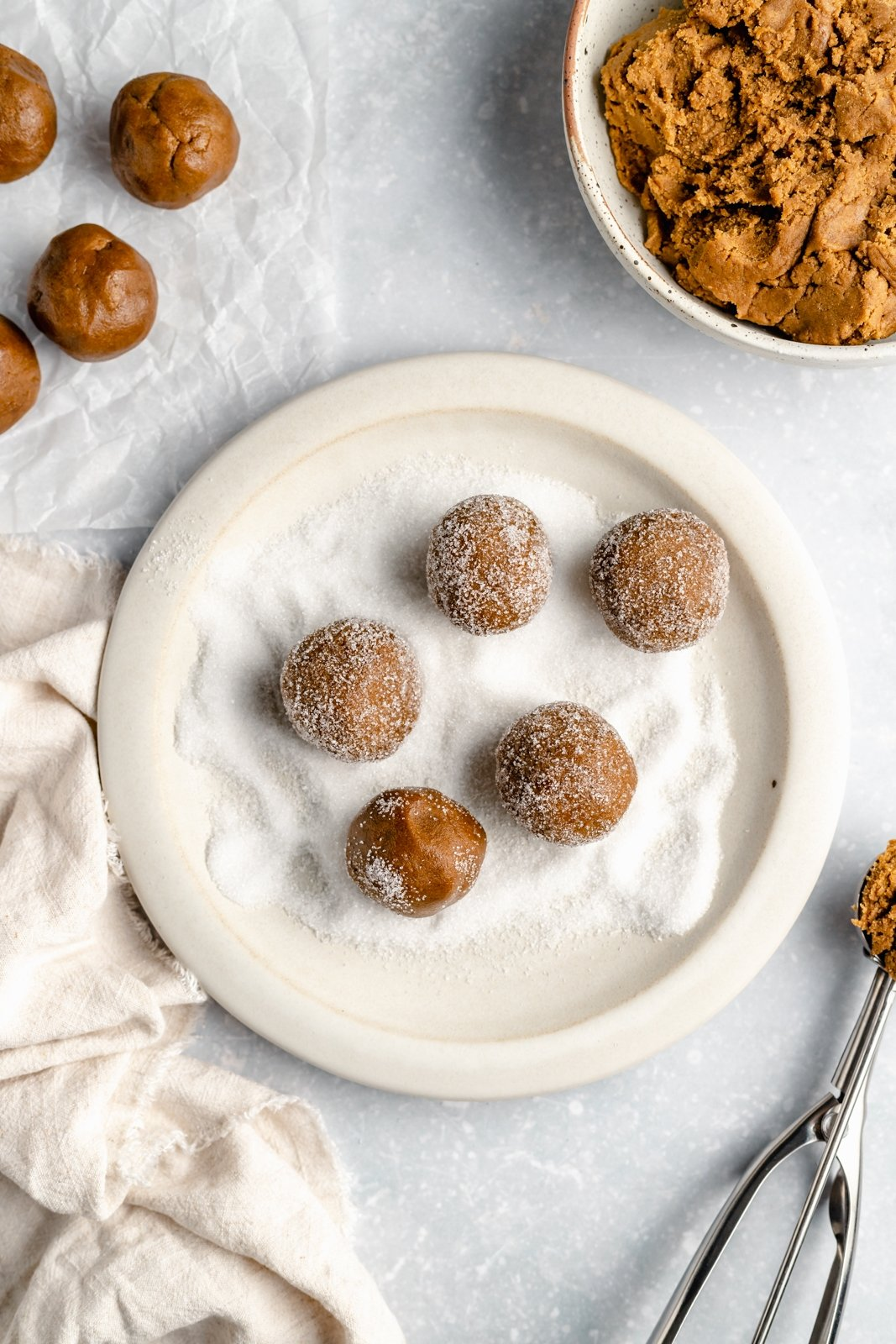 soft ginger cookie dough balls rolled in sugar