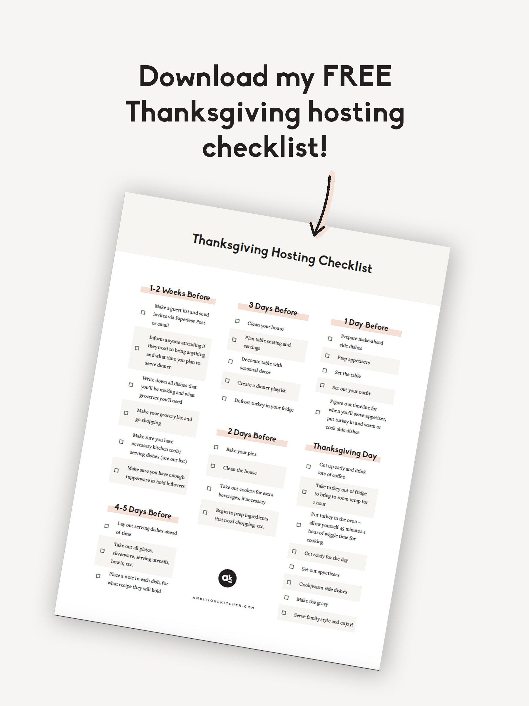 thanksgiving hosting checklist