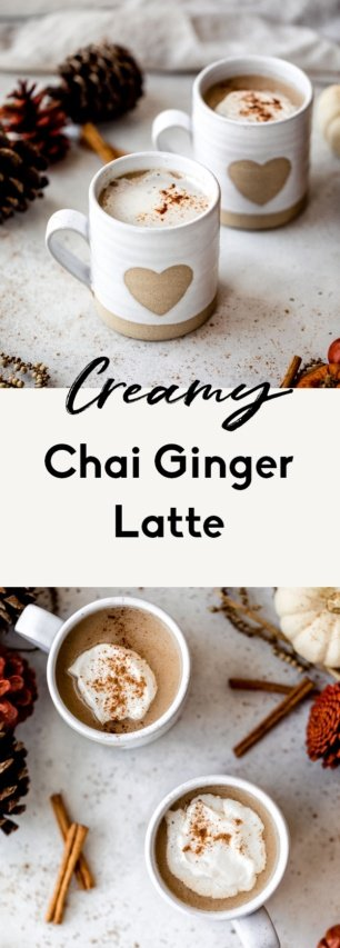 collage of chai ginger latte