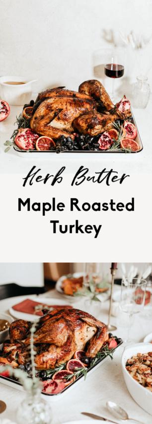 collage of maple roasted turkey