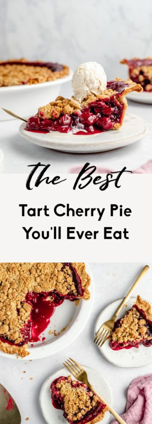 collage of tart cherry pie