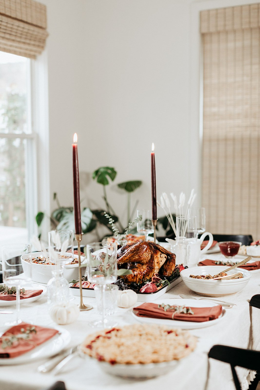 thanksgiving table with a maple roasted turkey