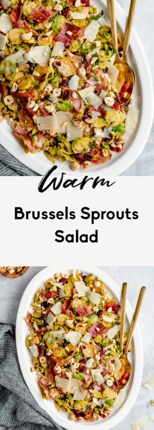 collage of warm brussels sprouts salad