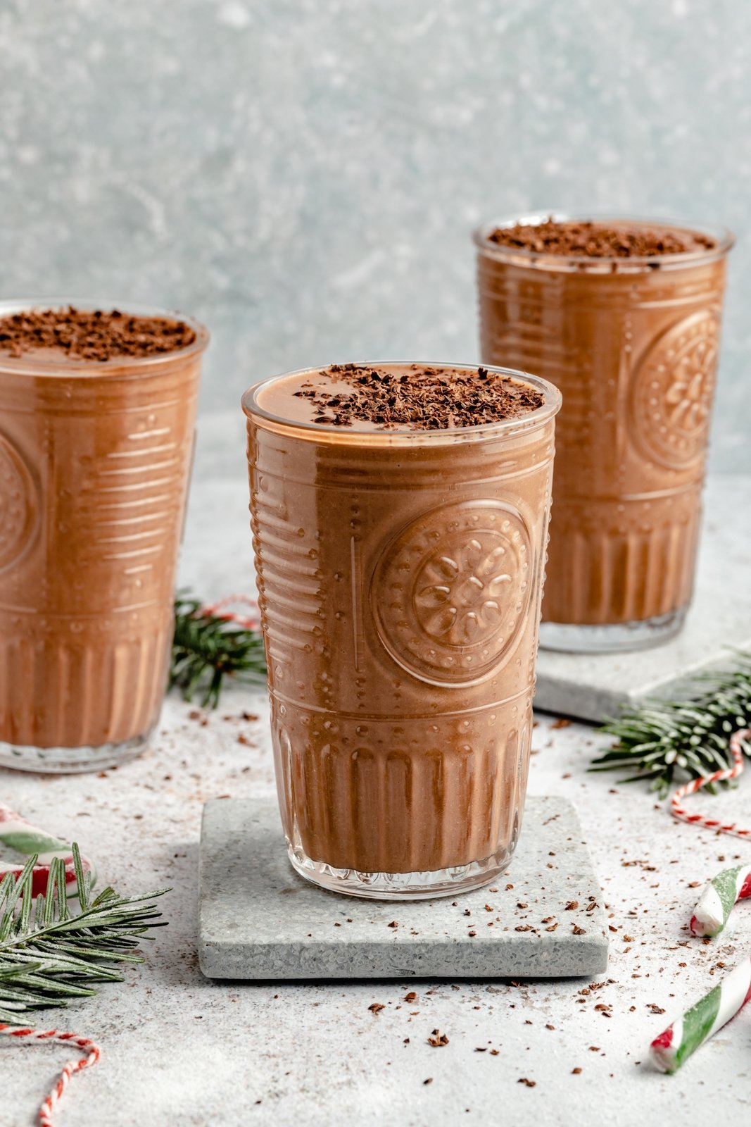 vegan chocolate peppermint smoothie in three glasses