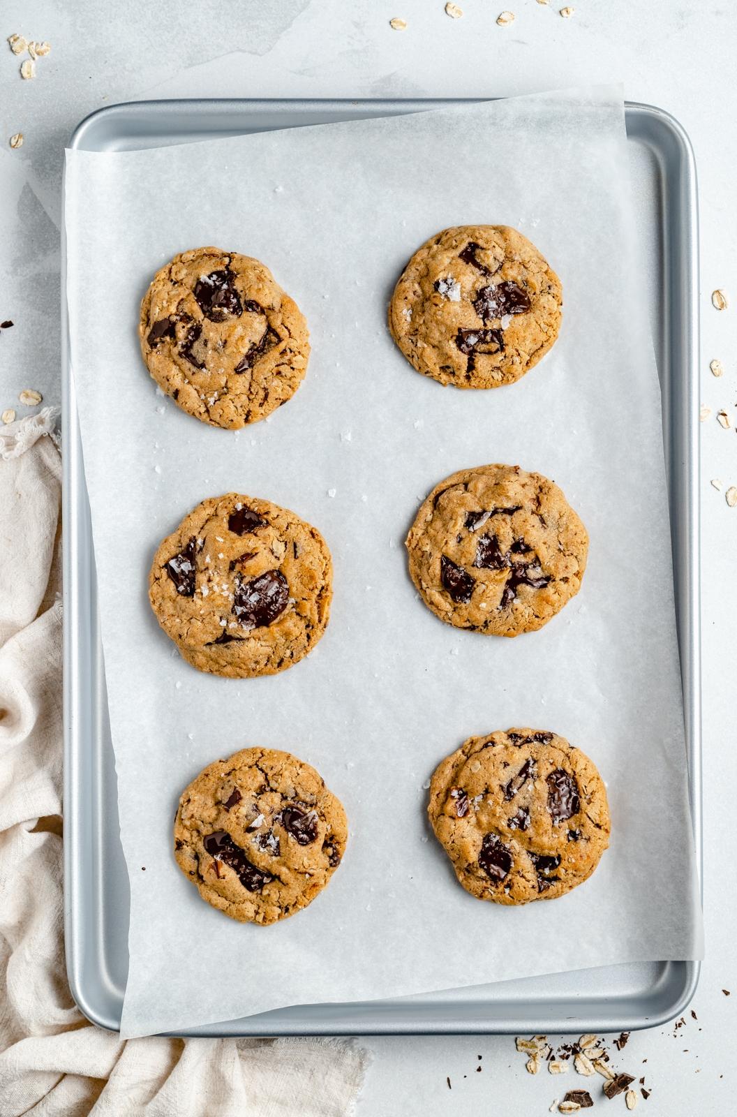 tahini oatmeal cookies on a baking sheet