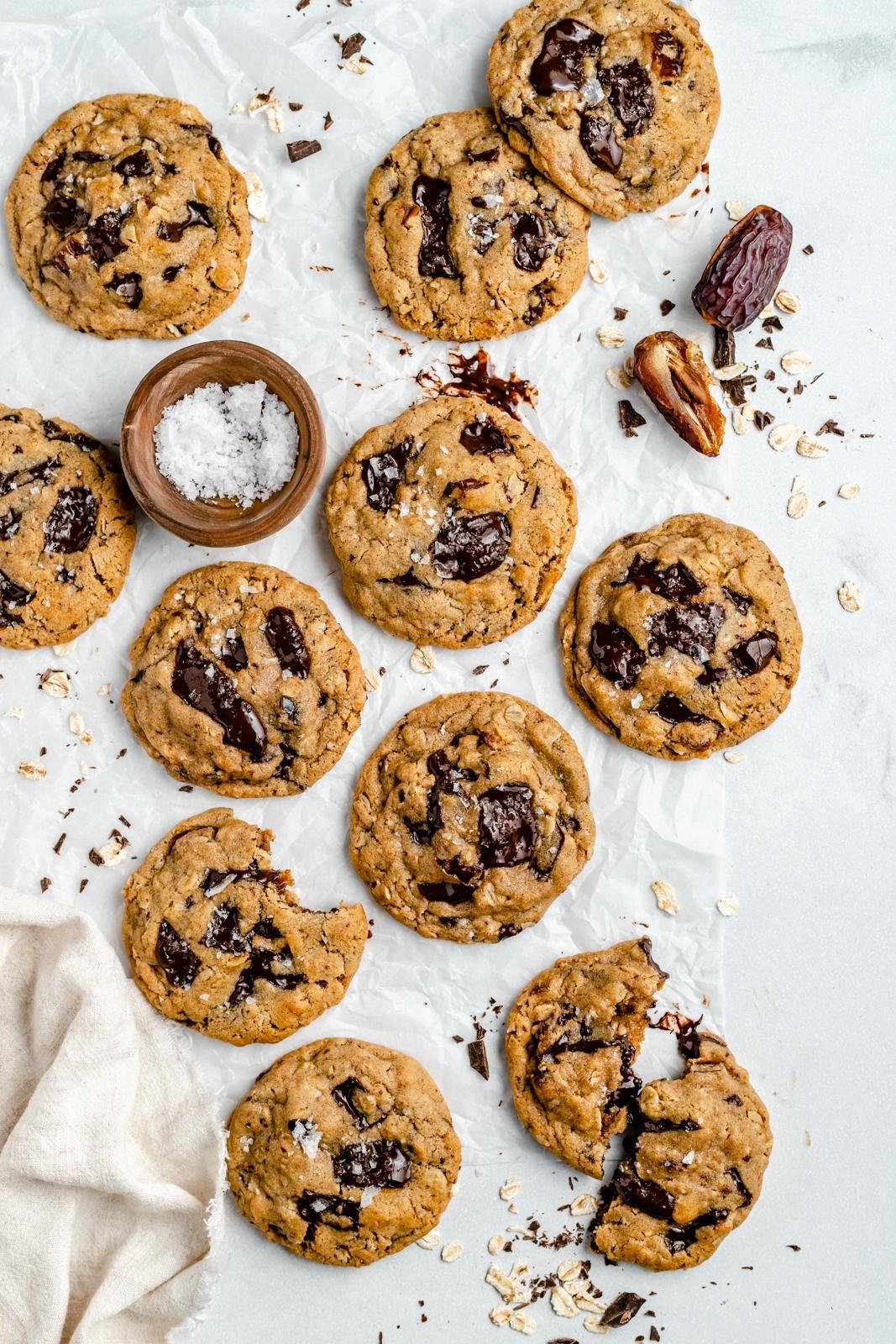 tahini date chocolate chunk cookies on wax paper