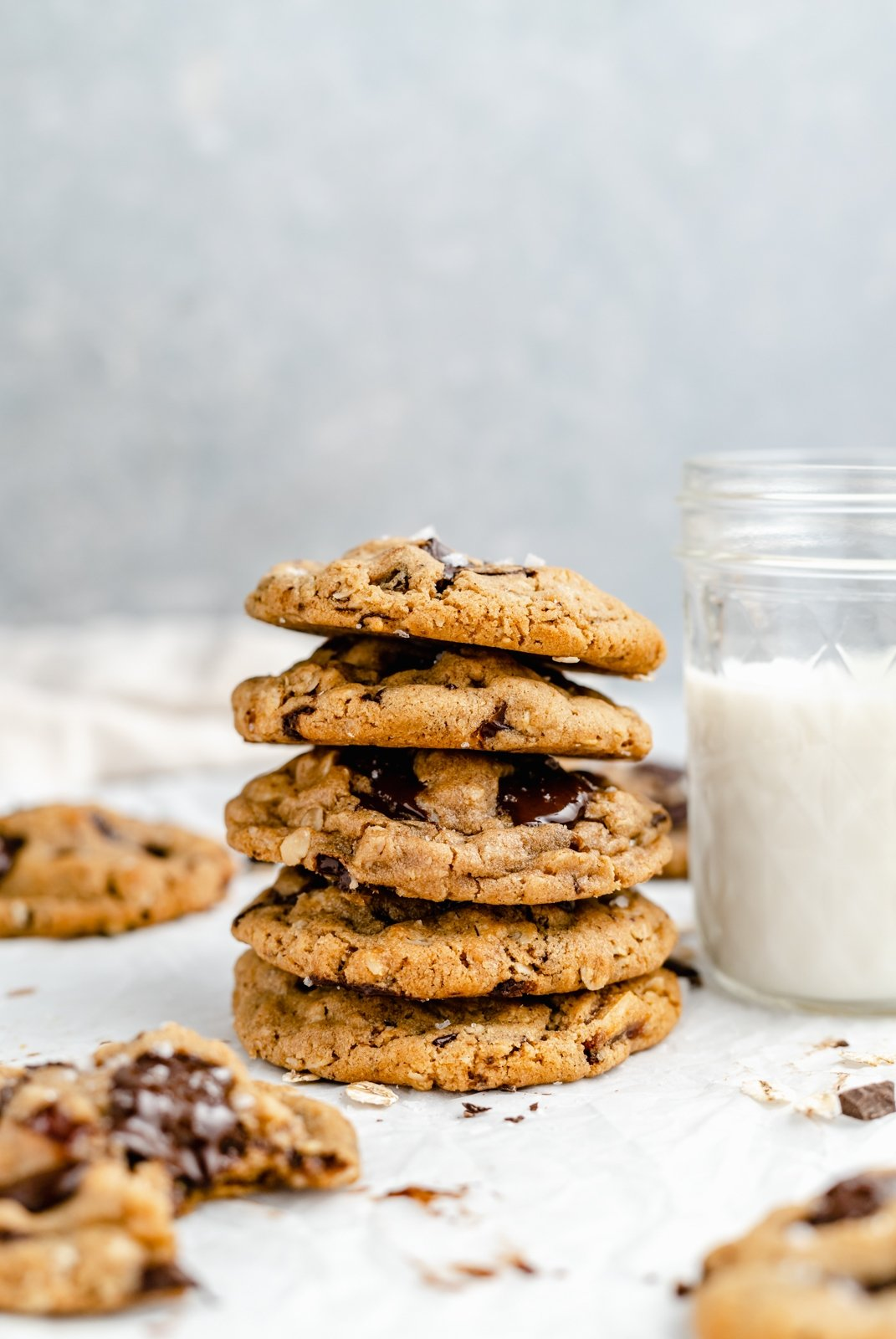 stack of tahini chocolate chunk oatmeal cookies