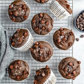 double chocolate spinach muffins on a wire rack
