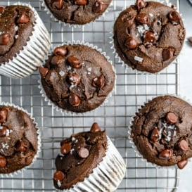 healthy chocolate spinach muffins on a wire rack